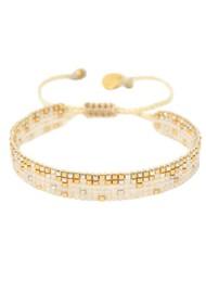 MISHKY Ella Y EL Beaded Bracelet - Cream & Gold