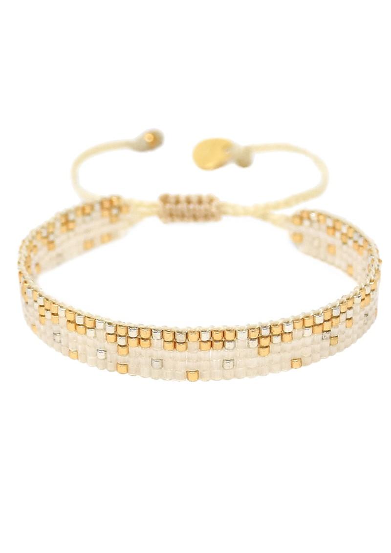 MISHKY Ella Y EL Beaded Bracelet - Cream & Gold main image
