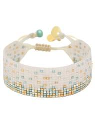 MISHKY Ella Y EL Beaded Bracelet - Cream & Turquoise