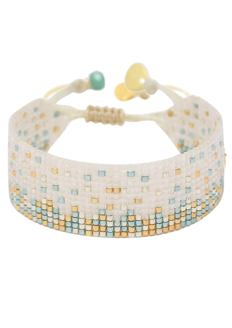 MISHKY Ella Y EL Beaded Bracelet - Cream & Turquoise main image