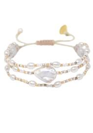 MISHKY Maya Pearl Beaded Bracelet - Pearl, Gold & Bronze