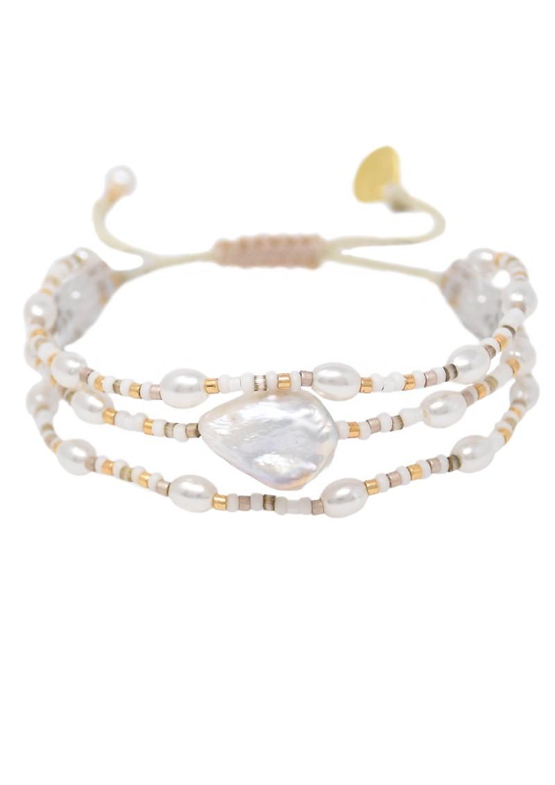 MISHKY Maya Pearl Beaded Bracelet - Pearl, Gold & Bronze main image