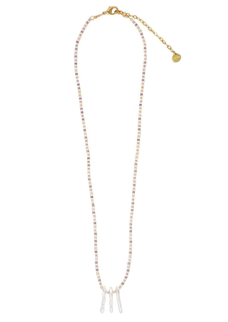 MISHKY Skinny Pearl Braded Necklace - Pearl, Gold & Rose main image