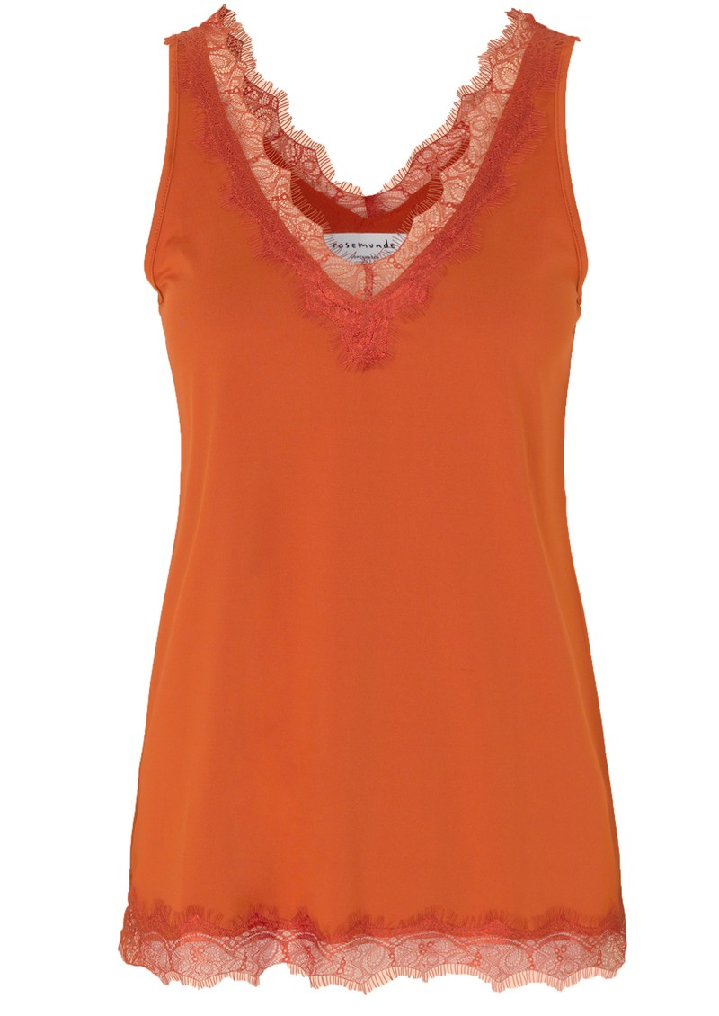 Rosemunde Simple Lace Top - Dark Orange main image
