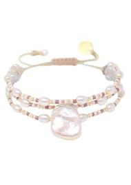 MISHKY Maya Pearl Beaded Bracelet - Pearl, Gold & Rose