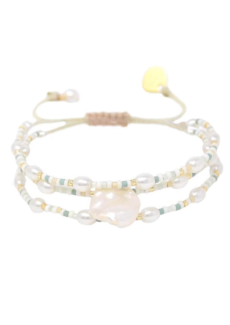 MISHKY Maya Pearl Beaded Bracelet - Pearl & Green main image