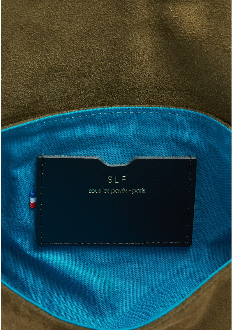 Sous Les Paves Mai Tai Suede & Raphia Cobra Handbag - Khaki main image