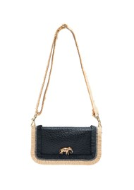 Sous Les Paves Mai Tai Leather & Raphia Cobra Handbag - Black