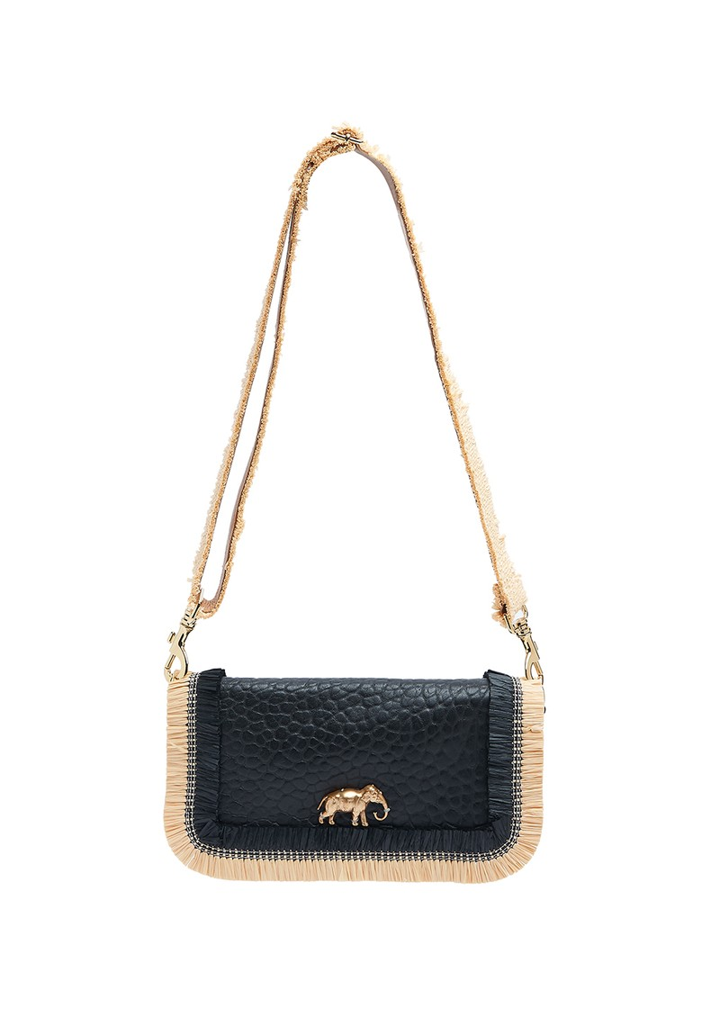 Mai Tai Leather & Raphia Cobra Handbag - Black main image