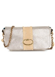 Sous Les Paves Mai Tai Metallic Leather & Raphia Cobra Handbag - Silver
