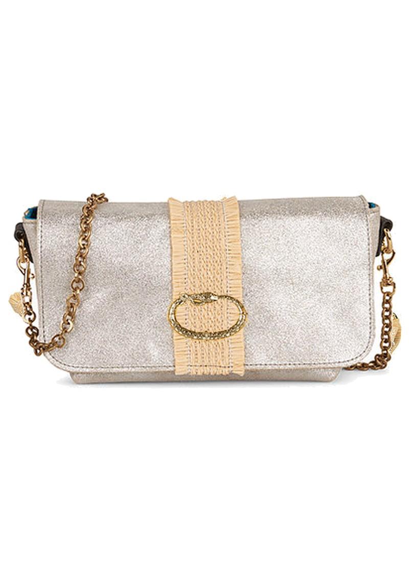 Sous Les Paves Mai Tai Metallic Leather & Raphia Cobra Handbag - Silver main image