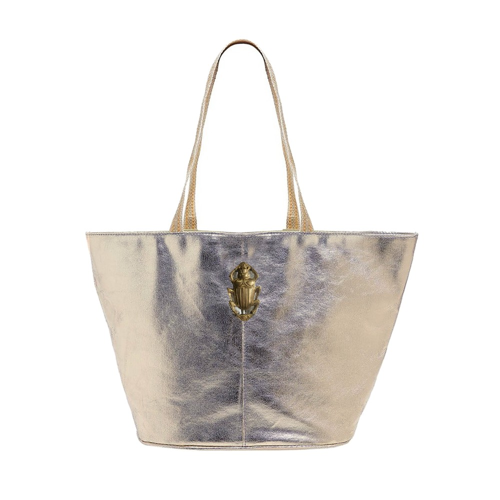 Maureque Tote Leather Bag - Silver