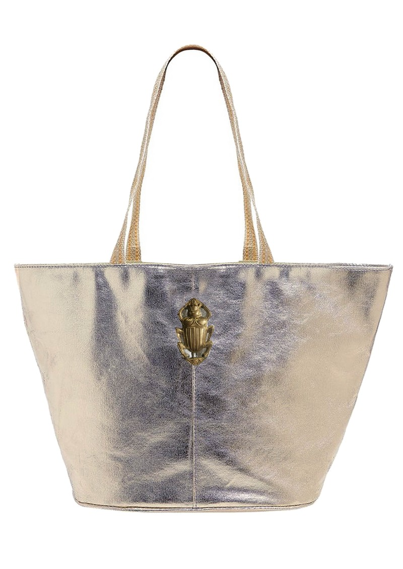Sous Les Paves Maureque Tote Leather Bag - Silver main image