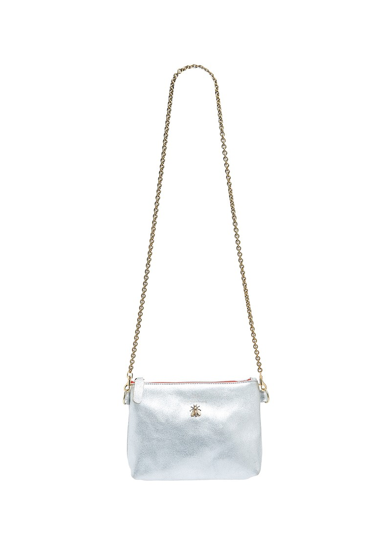 Sous Les Paves Chapala Metallic Leather Chain Bee Bag - Silver main image