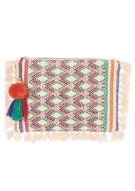 M.A.B.E Cassia Embroidered Clutch - Ecru Multi