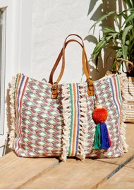M.A.B.E Cassia Embroidered Tote Bag - Ecru & Multi