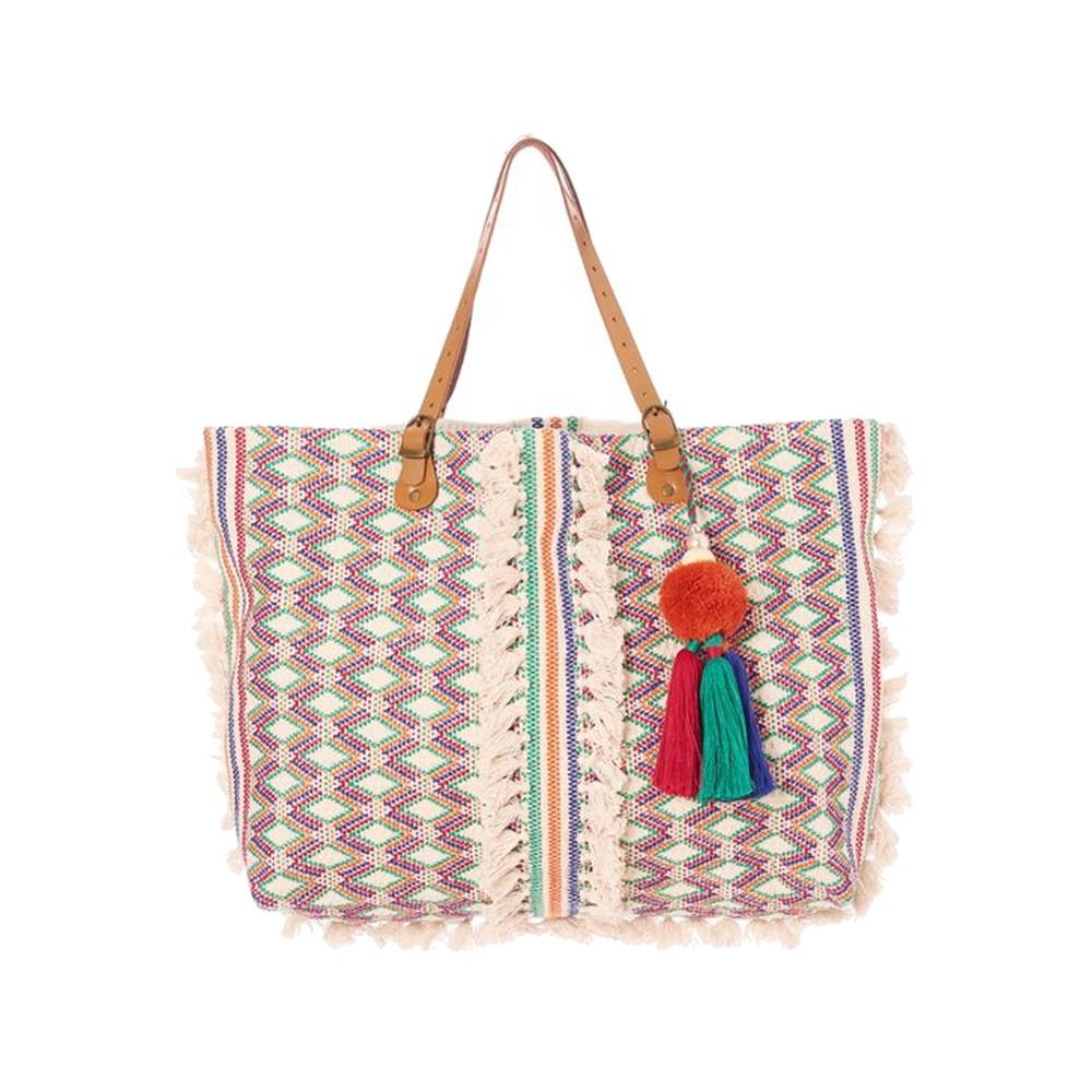 Cassia Embroidered Tote Bag - Ecru & Multi