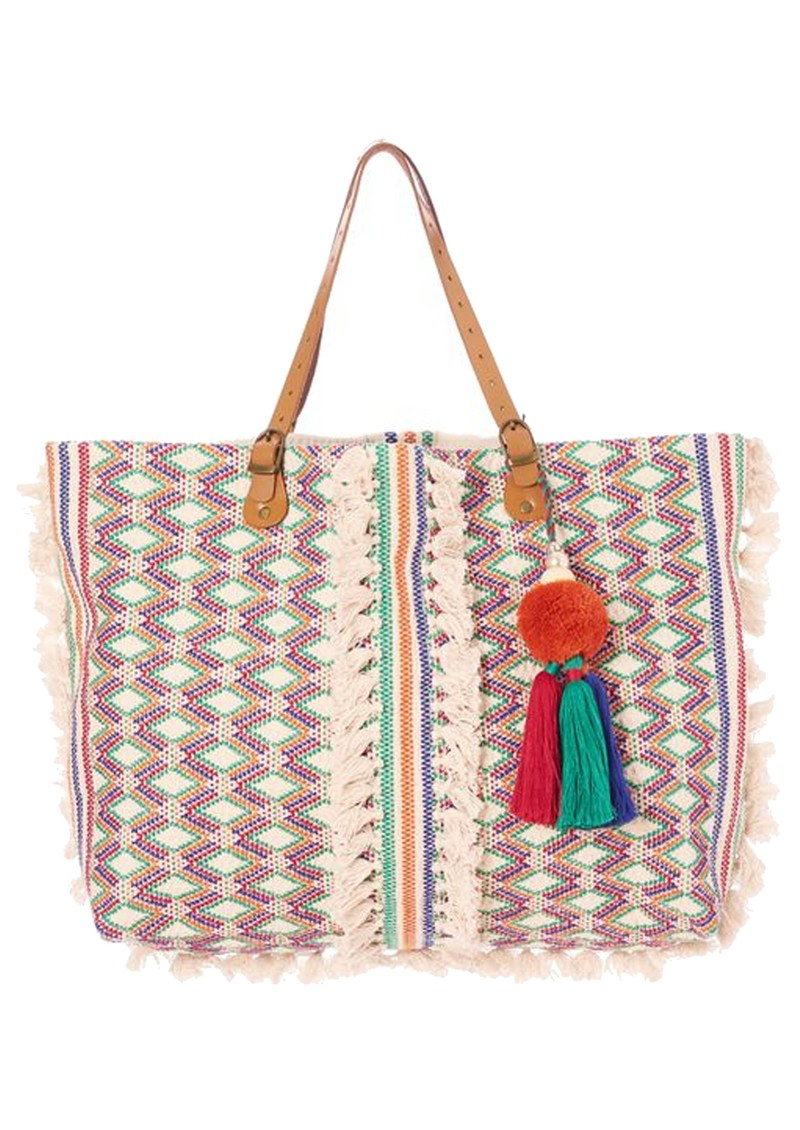 M.A.B.E Cassia Embroidered Tote Bag - Ecru & Multi main image