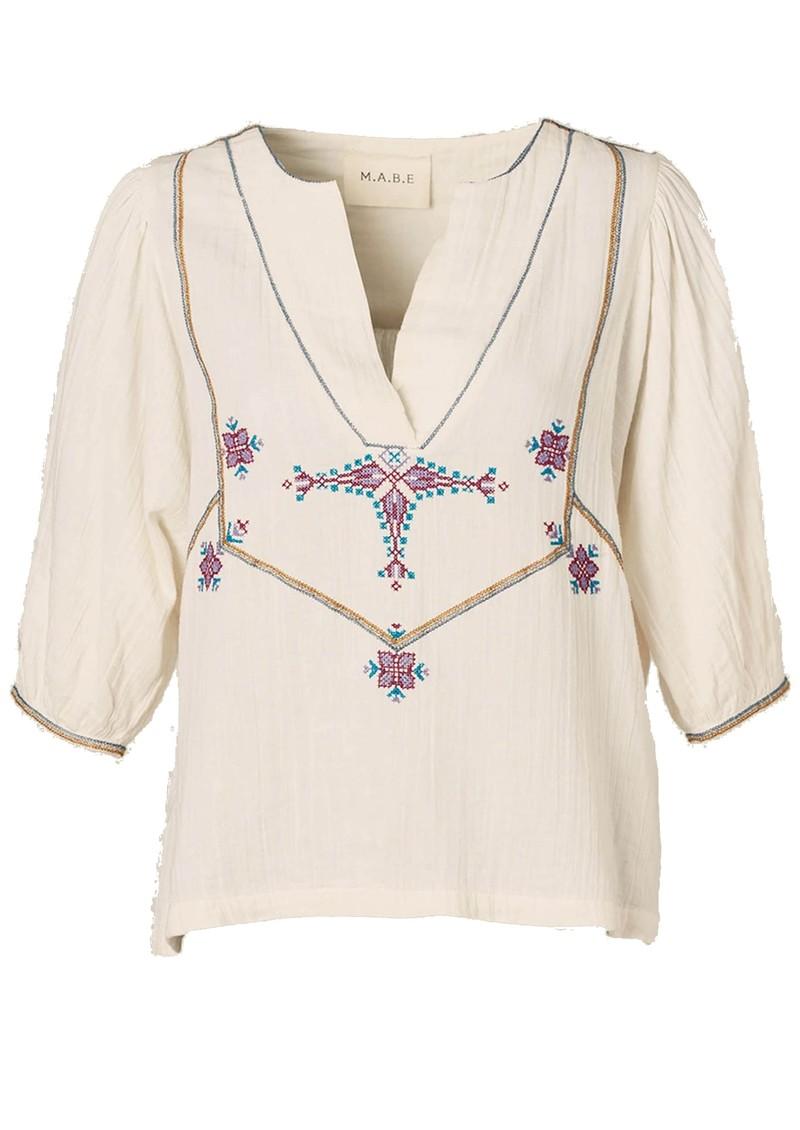 M.A.B.E Viven Cotton Top - Ecru & Multi main image