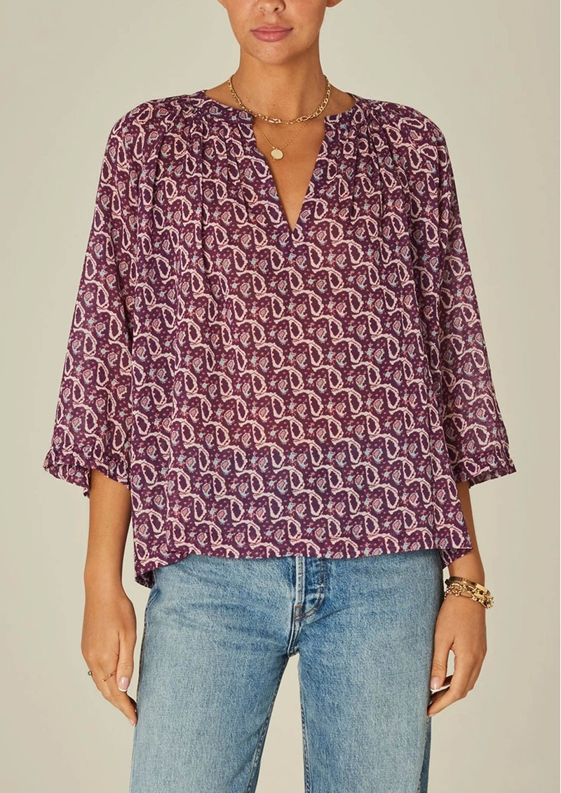 M.A.B.E Jani 3/4 Length Sleeve Cotton Top - Multi main image