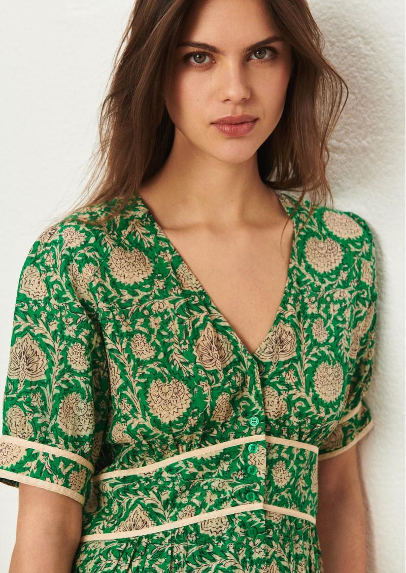 Ba&sh Plume Printed Dress - Vert main image