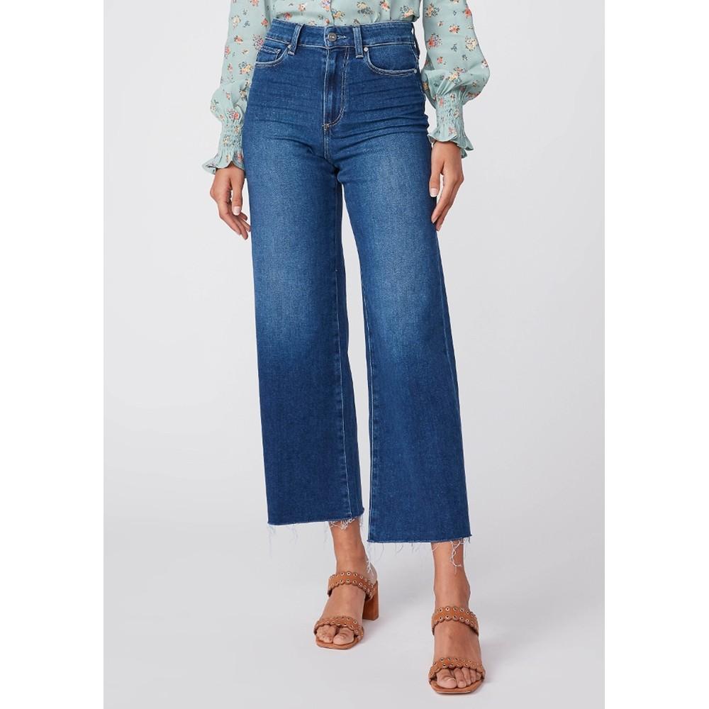 Anessa High Rise Cropped Wide Leg Raw Hem Jeans - Talisman