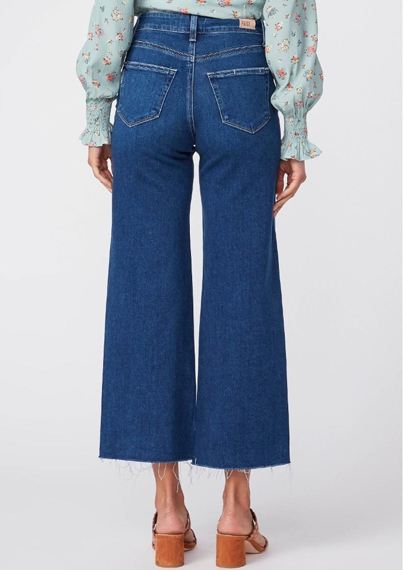 Paige Denim Anessa High Rise Cropped Wide Leg Raw Hem Jeans - Talisman main image