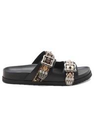 Ash Ulysse Two Strap Black Leather Sandals - Black