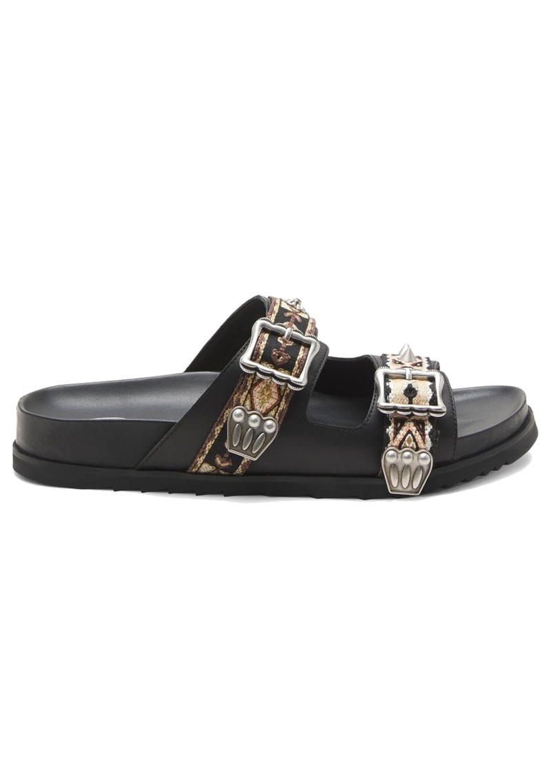Ulysse Two Strap Black Leather Sandals - Black  main image