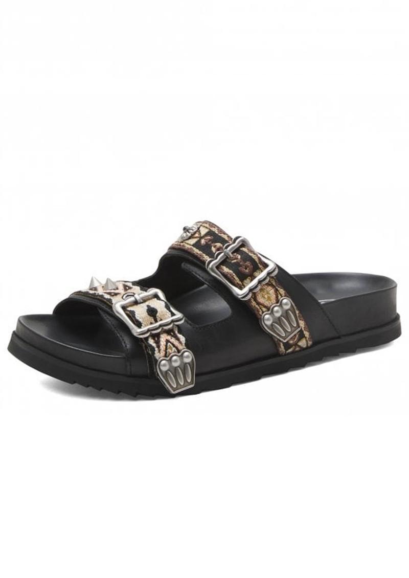 Ash Ulysse Two Strap Black Leather Sandals - Black  main image