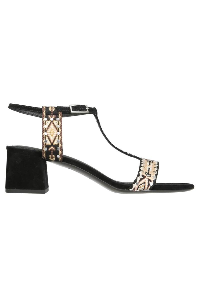 Ash Rafael Ankle Strap Block Heel Sandals - Black & Caramel main image