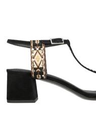 Ash Rafael Ankle Strap Block Heel Sandals - Black & Caramel