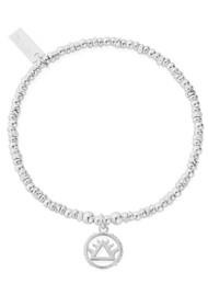 ChloBo Sacred Earth Sparkle Disc Fire Bracelet - Silver