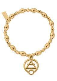ChloBo Sacred Earth Oval Bead Air Bracelet - Gold