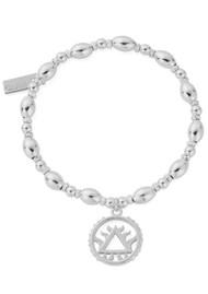 ChloBo Sacred Earth Oval Bead Fire Bracelet - Silver