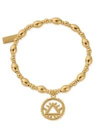 ChloBo Sacred Earth Oval Bead Fire Bracelet - Gold