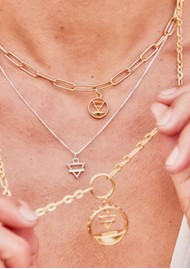 ChloBo Box Chain Earth Necklace - Gold