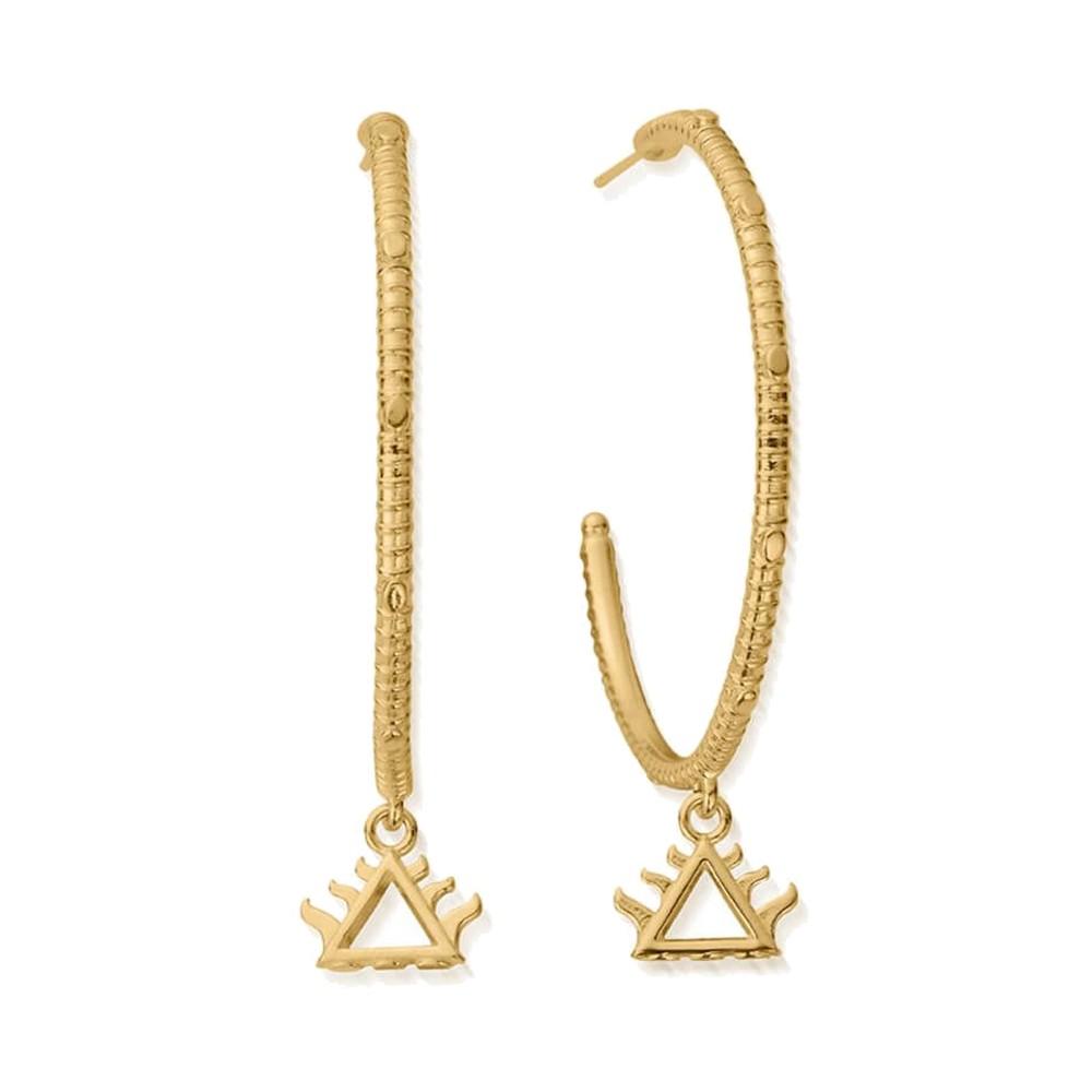Sacred Earth Large Fire Hoop Earrings - Gold