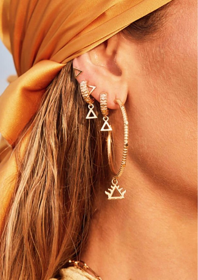 ChloBo Sacred Earth Large Fire Hoop Earrings - Gold main image