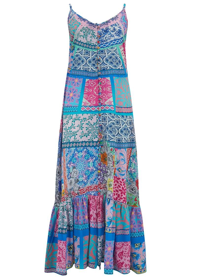 INOA Frill Strap Silk Maxi Dress - Martinque main image