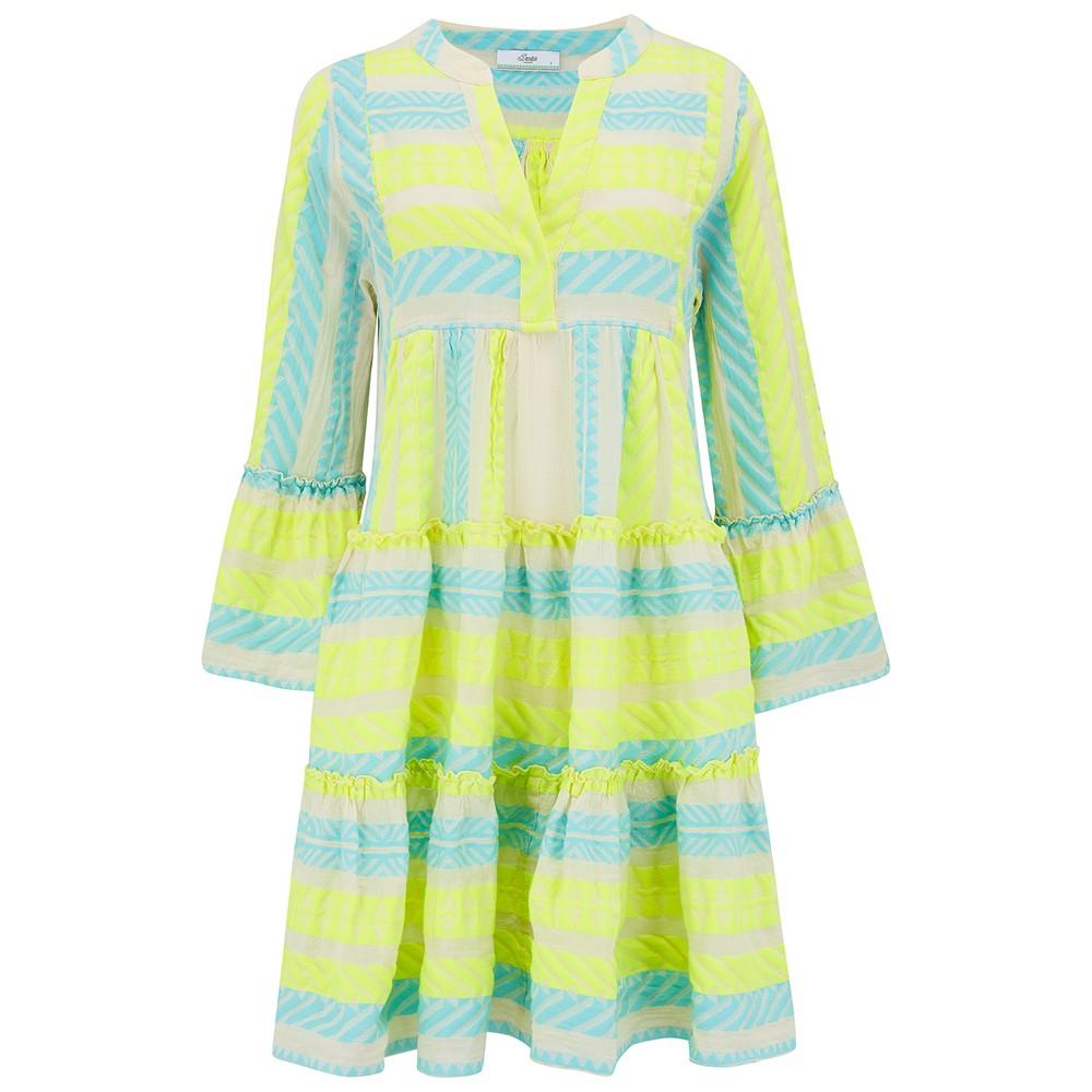 Ella Short Cotton Dress - Neon Lime & Aqua Blue