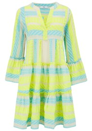 DEVOTION Ella Short Cotton Dress - Neon Lime & Aqua Blue