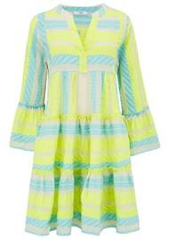 DEVOTION Ella Short Cotton Dress - Neon Lime & Aqua Blue