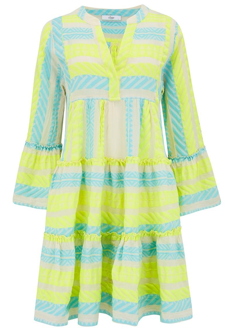 DEVOTION Ella Short Cotton Dress - Neon Lime & Aqua Blue main image