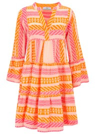 DEVOTION Ella Short Cotton Dress - Neon Pink & Orange