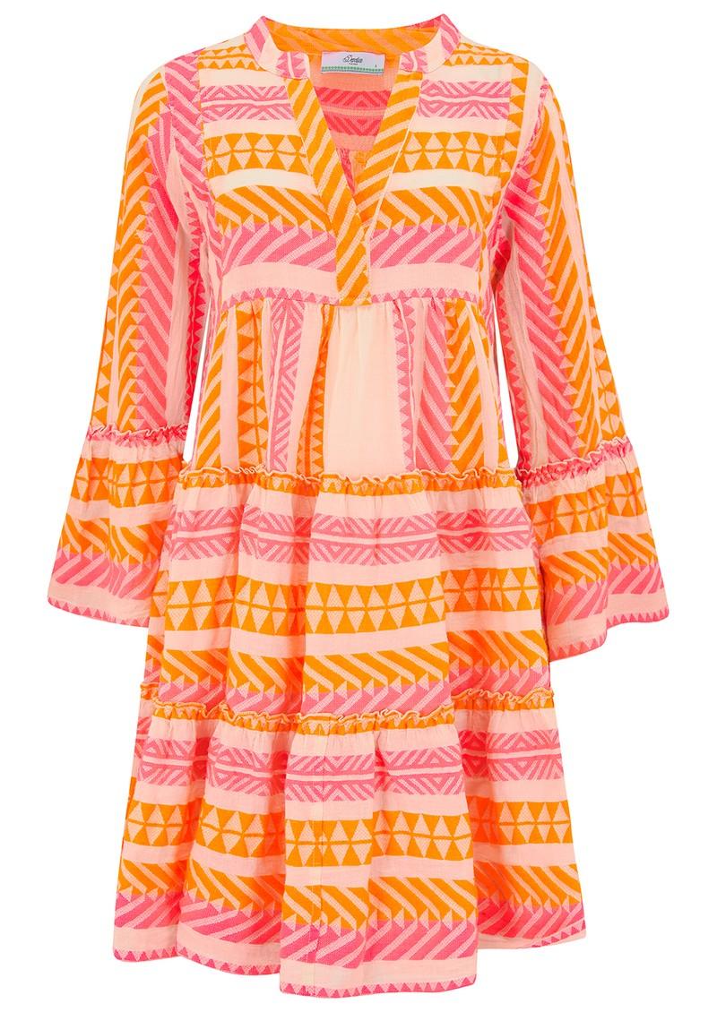 DEVOTION Ella Short Cotton Dress - Neon Pink & Orange main image