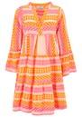 Ella Short Cotton Dress - Neon Pink & Orange additional image