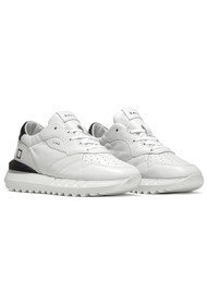 D.A.T.E Luna Leather Running Sneakers - White & Black