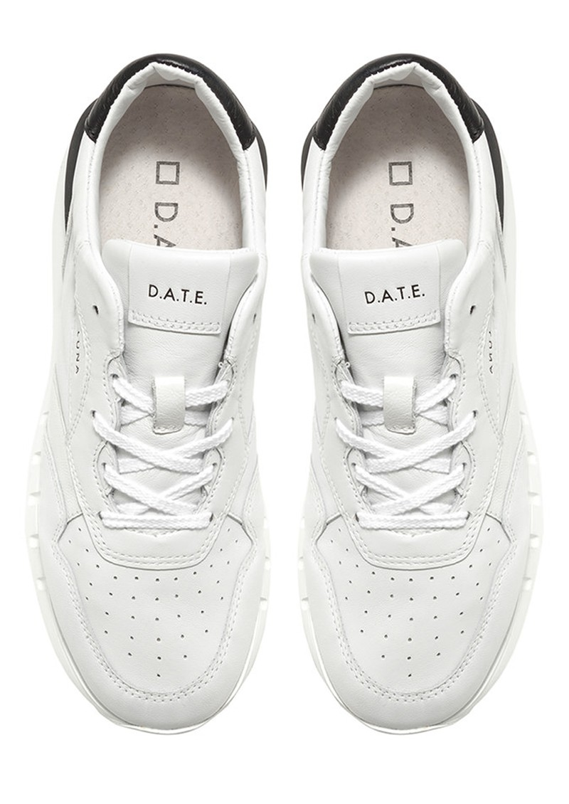 D.A.T.E Luna Leather Running Sneakers - White & Black main image