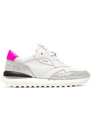 D.A.T.E Luna Leather Running Sneakers - White & Fuchsia